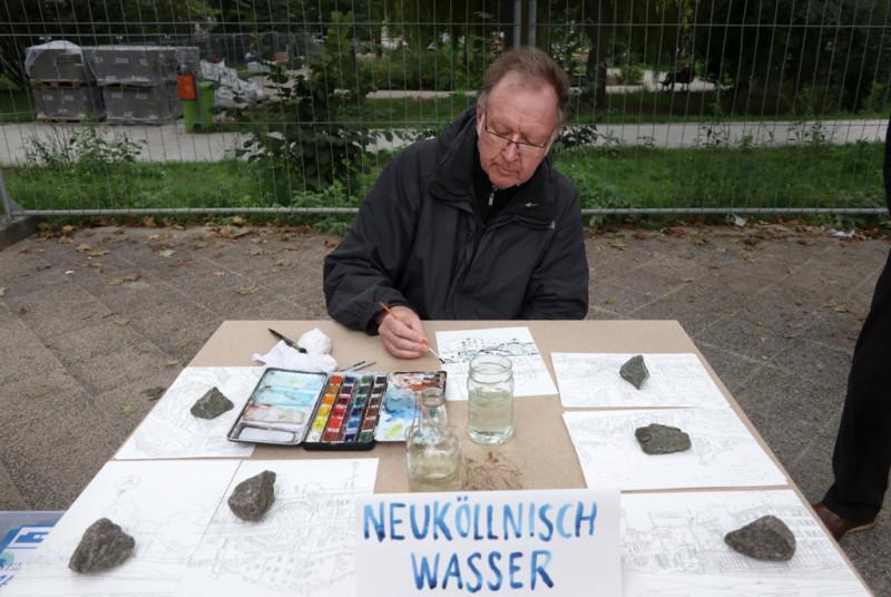 Matthias Beckmann beim Aquarellieren